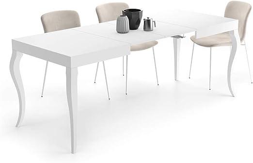 Mobili Fiver, Mesa Extensible Classico, Blanco Mate, 120 x 80 x 76 ...