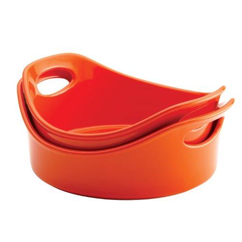 Rachael Ray Stoneware 2-Piece Bubble & Brown Round Baker Set, Orange by Rachael Ray