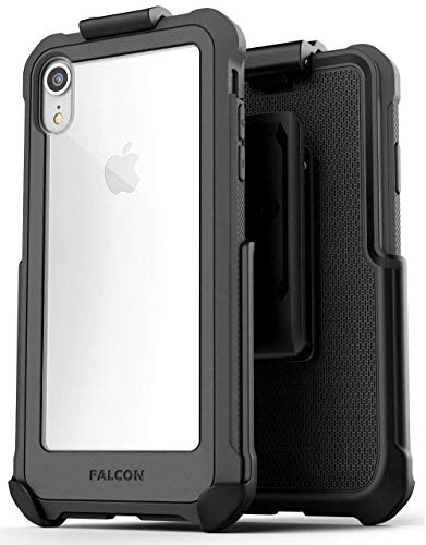 Encased iPhone XR Heavy-Duty Protective Belt Clip Case w/Tempered Glass Screen Protector - Compatible w/Apple iPhoneXR 6.1 (Falcon Gray w/Holster Clip)