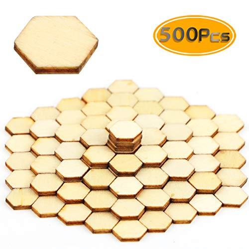 BcPowr 500 PCS 10mm Honeycomb Wood Chips Unfinished Wood Cutout Natural Honeycomb Wood Hexagon Cutout Shapes Unfinished Wood -