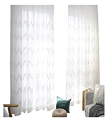 Aside Bside Simple Sheer Curtains Ripple Embroidered Rod Pocket Gauze Window Panels Treatments Drapes for Living Dining Room & Bedroom