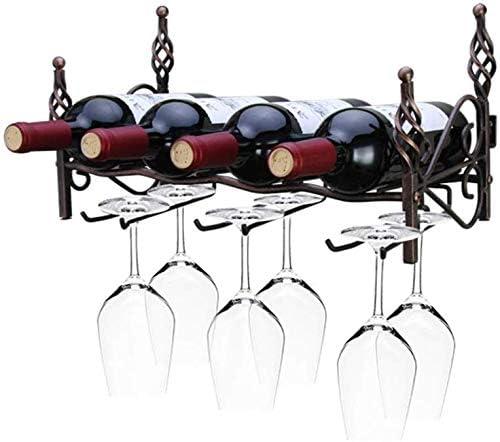 棚, ワイングラスホルダーをぶら下げ、ヨーロッパのワイン逆さワインシェルフバーウォールはゴブレットホルダーハンギングラックヴィンテージ銅錬鉄41 * 19 * 22センチメートル