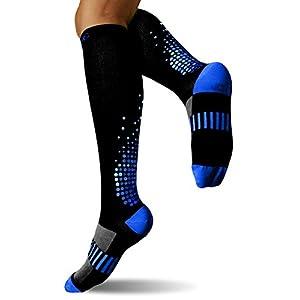 SUGUE Compression Socks (1 Pair) 20-30 mmHg for Women & Men - Best Graduated Athletic Fit for Running, Flight, Nurses, Maternity, Pregnancy - Shin Splints, Medical, Recovery (S/M, Blakc & Blue)