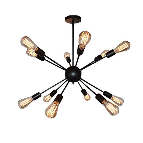 Fuloon Sputnik Chandelier Vintage Edison Industrial Loft Droplight Lamp Metal Large Pendant Hanging Light(Black-12 heads)