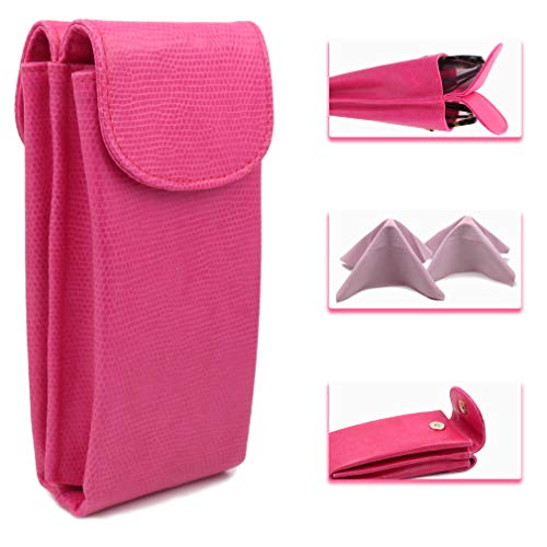 Extra large double eyeglass case and sunglasses case - Large Semi Soft - with 2 Microfiber Cleaning Cloths - Magnetic Closure (IP822 Snake ()