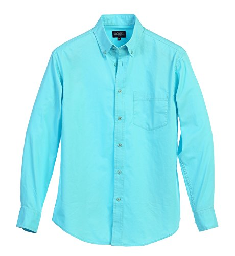 Gioberti Mens Long Sleeve Casual Twill Shirt, Aqua, (Aqua Long Sleeve Shirt)