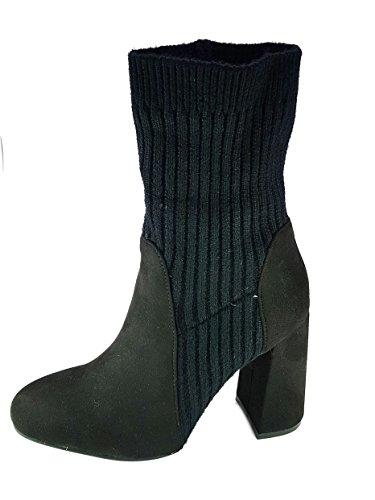 melissa Shoes Scarpe Stivali Stivaletti Donna Ragazza Moda Comoda New Tacco Blocchetto cm 9 TG 35 Colore Nera Tessuto Finto Camoscio Caviglia in lanettina Elastica