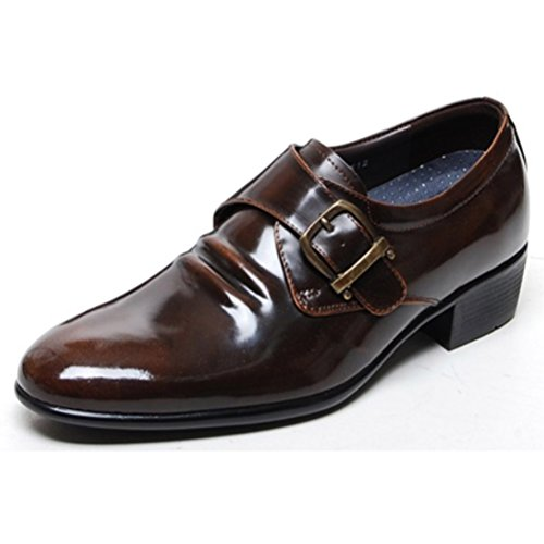 EpicStep Mens Genuine Leather Dress Formal Business Casual Tall Up Buckle Shoes Oxfords Loafers Brown
