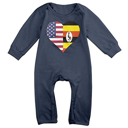 Baby Boy Jumpsuit Half Uganda Flag Half USA Flag Love Heart Baby Rompers Navy]()