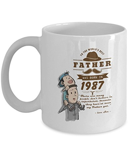Gag birthday, special event, father day gifts mug - To The World's Best Father Was Born in 1987 - Novelty gift For For uncle, Husband On Halloween Day - White -