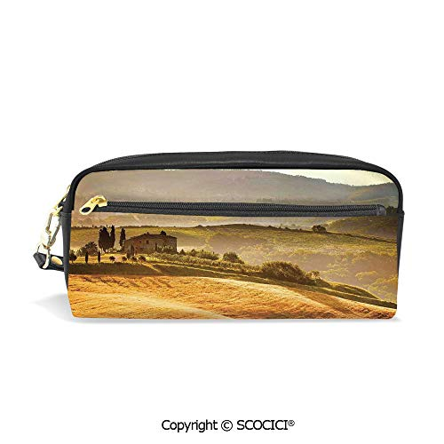 - PU Leather Student Pencil Bag Multi Function Pen Pouch Siena Tuscany Retro Farm House Trees Old Path Country Landscape on Sunset Office Organizer Case Cosmetic Makeup Bag