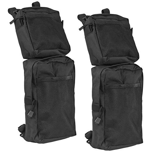 MeiBoAll ATV Storage Bag, 2pcs 600D Oxford Cargo Tank Bags, Trailer Hanging Pouch Bag, Waterproof Saddle Bag for ATV Fender, Snowmobiles, Black