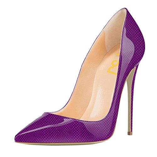 Fsj Donne Moda Tacco Alto Stiletto Scarpe A Punta Pompe Abito Da Sera Stampato Scarpe Taglia 4-15 Us Purple