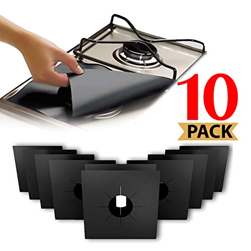 Stove Burner Covers, Reuseable Gas Range Protectors StoveTop Liners With Double Thickness, Non-Stick, Easy To Clean (10-Pack)