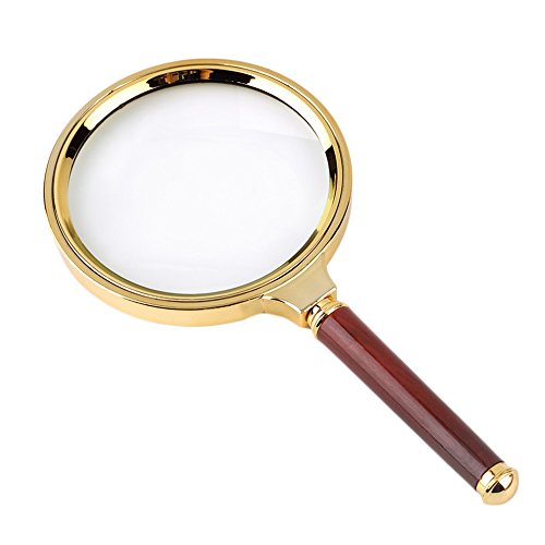BreaDeep Handheld 80mm 10X Magnifier Magnifying Glass Loupe with Redwood Handle and Metal Lens Holder for Reading Jewelry Repair
