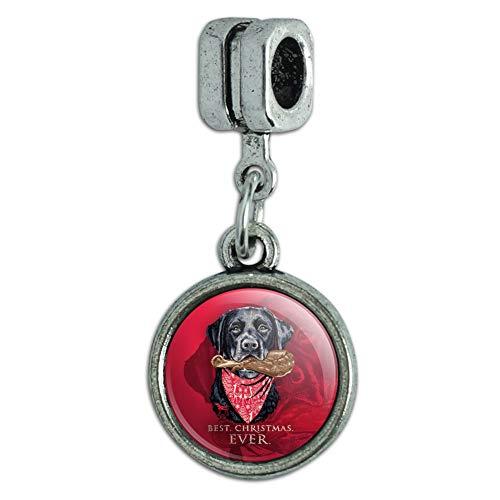 GRAPHICS & MORE Best Christmas Ever Lab Dog Turkey Leg Italian European Style Bracelet Charm Bead