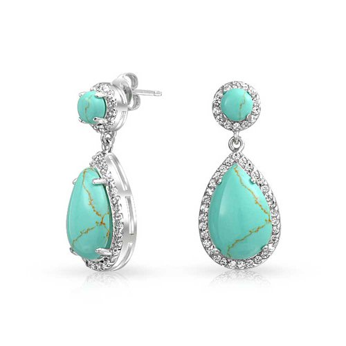 Turquoise Tear (CZ Reconstituted Turquoise Teardrop Earrings Rhodium Plated)