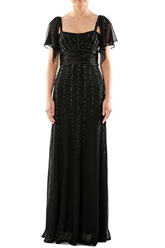 MACloth Women Long Mother of the Bride Dress Wedding Party Formal Gown Sleeves Gris