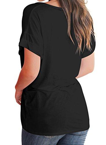 Loose Bodycon4U Short Black Blouse Sleeve Pocket Summer Women's Tee Casual T Shirt Basic Tops wArFwq