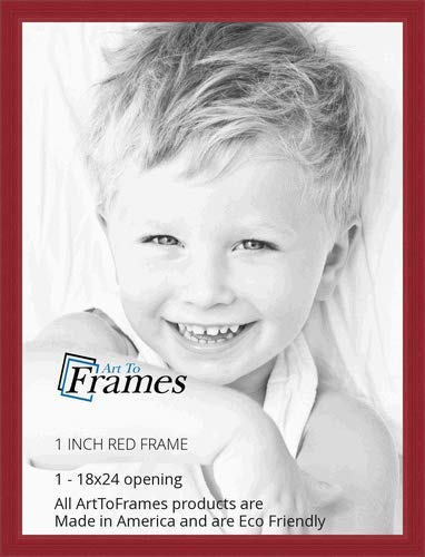 - ArtToFrames 18x24 inch Red Stain on Red Oak Wood Picture Frame, WOM0066-60823-YRED-18x24