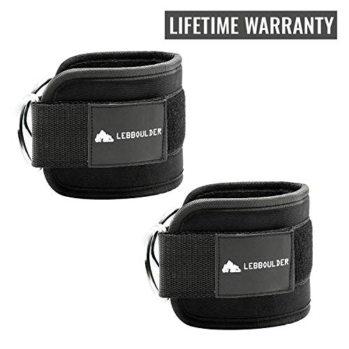 LEBBOULDER Ankle Straps for Use with Standard Cable Machines, Resistance and Functional Trainers, 2 Reinforced D-Rings, Adjustable Neoprene Cuff - Unisex Two Pair Set Black and Pink (Black) (Ring D Attachable)