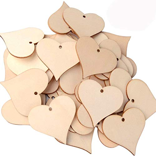 UTOPER Wooden Love Heart Slices Blank Name Tags Wood Labels Art Craft Pieces for Wedding DIY Projects Card Making (100pcs, 47mm)