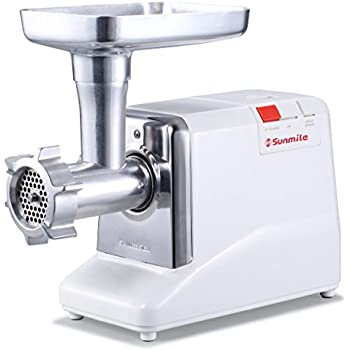 Sunmile SM-G50 Electric Meat Grinder and Sausage Stuffer - 1.3HP 1000W Max - Size #12, Metal Gear Box & Gears, REVERSE/CIRCUIT BREAKER, Stainless Steel Cutting Blades & 3 Plates, 3 Sausage Stuffers