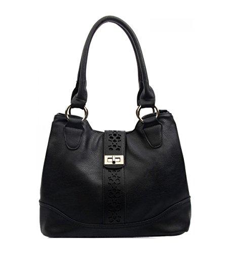 LeahWard? Ladies Fashion Designer Zip Compartment Pockets Soft Light Weight Shoulder Handbags 141101 BLACK SHOULDER BAG