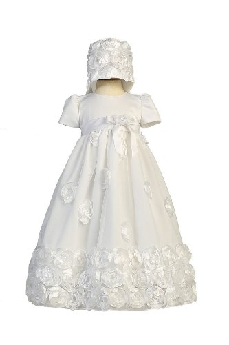 Satin Christening Dress Tulle (Floral Ribbon Tulle Christening Baptism Special Occasion Newborn Dress - M (6-12 Month, 13-17 lbs))