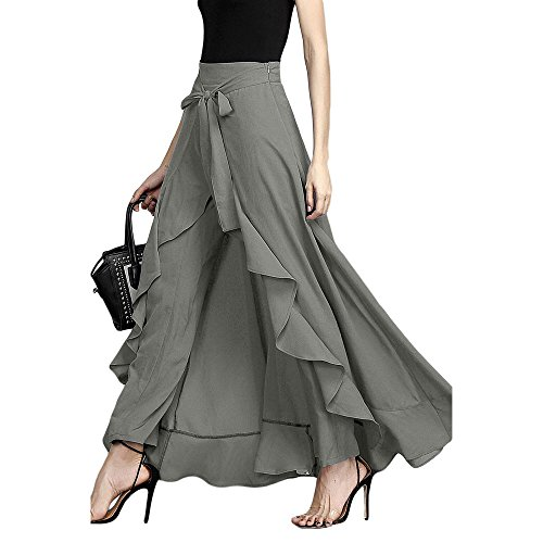 Lrud Women's Ruffle Plain Wide Leg Split Tie-Waist Maxi Long Palazzo Overlay Pant Skirts Grey XL