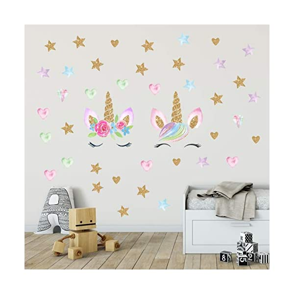 Unicorn Wall Decals,Unicorn Wall Sticker Decor with Heart Flower Birthday Christmas Gifts for Boys Girls Kids Bedroom Decor Nursery Room Home Decor (2 Pack Unicorn) 5