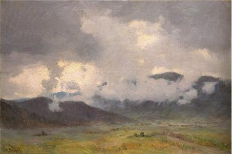 [Perfect Effect Canvas ,the Best Price Art Decorative Prints On Canvas Of Oil Painting 'Joseph Henry Sharp,Snow Clouds Taos Valley,1859-1953', 10x15 Inch / 25x38 Cm Is Best For Home Office Decoration And Home Artwork And Gifts] (Vertical Rain Cap)