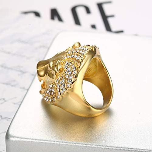 Lee Island Fashion 24K Gold Plated Simmulated Diamond CZ Fully Lion King Stainless Steel Ring for Men-Hip Hop Leo Rock Jewelry
