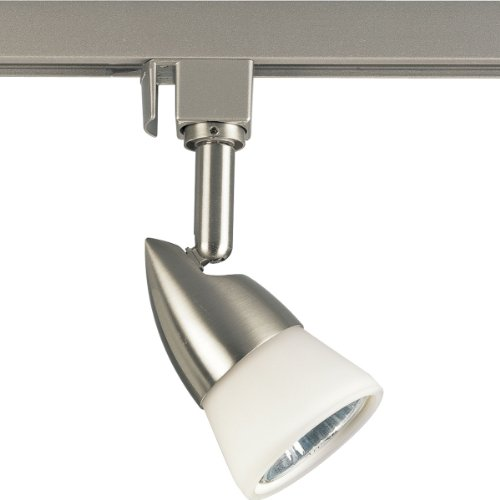 Progress Lighting P6111-09W 120 Volt Line Voltage Track Head with White Glass, Brushed ()