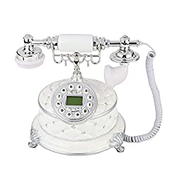 fosa Retro Vintage Telephone Rotary Dial Plate Antique Telephones Desk FSK/DTMF Landline Phone with Month/Day Clock Display for Office Home Living Room Decor, Wonderful Gift
