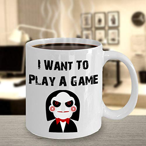 Play A Game Saw Mug Jigsaw Samhain Halloween Horror Scary Holiday Mug Fall Seasonal Coffee Mug Magical -