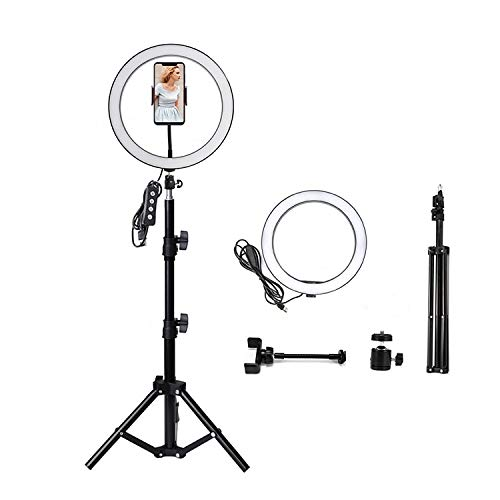 HOTNIX 12 inches Selfie LED Ring Light with Tripod Stand &Cell Phone Holder & 3 Light Mode Desktop LED Makeup Ring Light Kit for Live Streaming YouTube Musically TIK Tok Videos (12 Inch)
