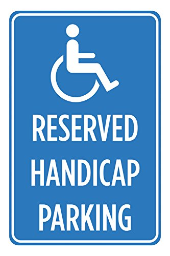 (2 Pack Reserved Handicap Parking Blue White Print Poster Business Car Lot Notice Sign - Aluminum Metal)