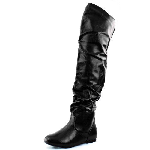 Nature Breeze Damen Overknee Slouchy Boots Premium Schwarz PU