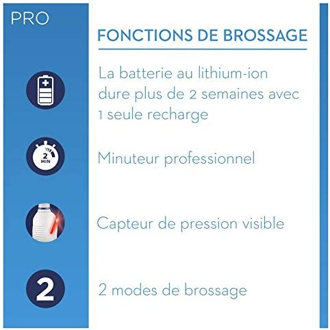 Braun Oral-B Pro2 - 2500 - Brosse à Dents Électrique Rechargeable, 1Manche avec Capteur de Pression Visible, 1Brossette, 1Étui de Voyage