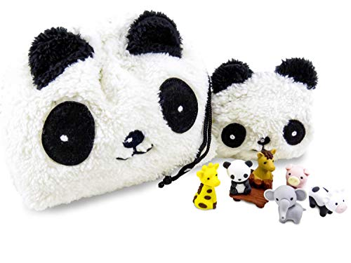 Adorable Panda Plush Drawstring Purse and Coin Purse With (7) Mini Puzzle Erasers (Little Animals Are Actual Erasers) - Perfect 9 Piece Set