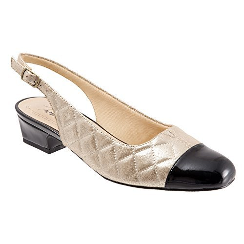 Quilted Pumps Womens - Trotters Women's DEA Gold Quilted/Black Pearlized Patent Pump 10 WW (EE)