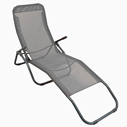 Sonnenliege Liegestuhl Gartenliege Klappstuhl Lounger Strandliege Badeliege Textilenbespannung in Grau stufenlos neigbar durch Gewichtsverlagerung pulverbeschichteter Rahmen