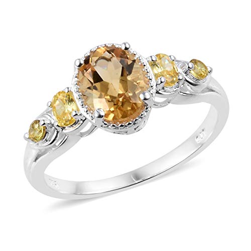 - 925 Sterling Silver Oval Citrine Cubic Zirconia Yellow CZ Statement Ring for Women Cttw 2
