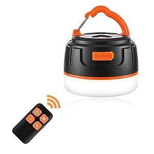 LEDランタン リモコン付 メモリ点灯機能 USB充電式 5200mAh 【3色切替/無段階調光/SOS独立操作】