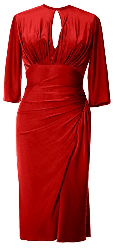 Formal Knee Elegant Sleeve MACloth Cocktail Jersey Party Gown Half Length Dress Burgunderrot xwqCT8w