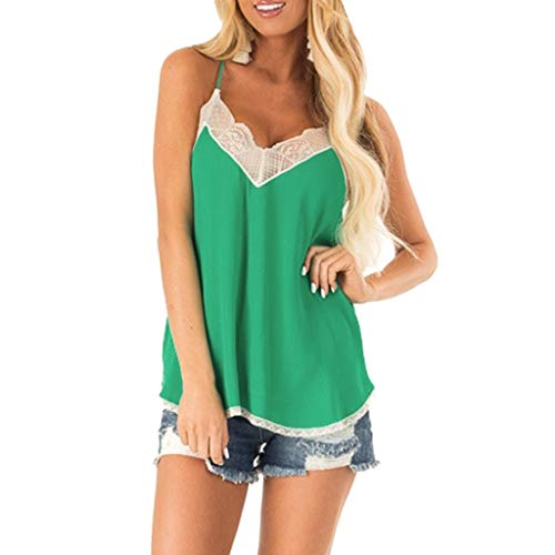 - Redacel Women Lace Stitching Vest Silk Satin Camisole Vest Top Sleeveless Blouse Casual Tank (L, Green # 8)