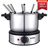 Electric Fondue Maker 1500W Stainless Steel Electric Fondue Pot,...