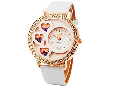 42290d81903f HE Shop Dfa Round Dial Analog Watch with Crystals & Beads Decoration  (White) M.: Amazon.co.uk: Watches