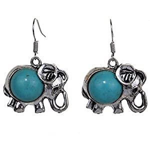 Lucky Elephant Animal Hook Earrings Charm Turquoise Drop Earrings Gift for mom Wife